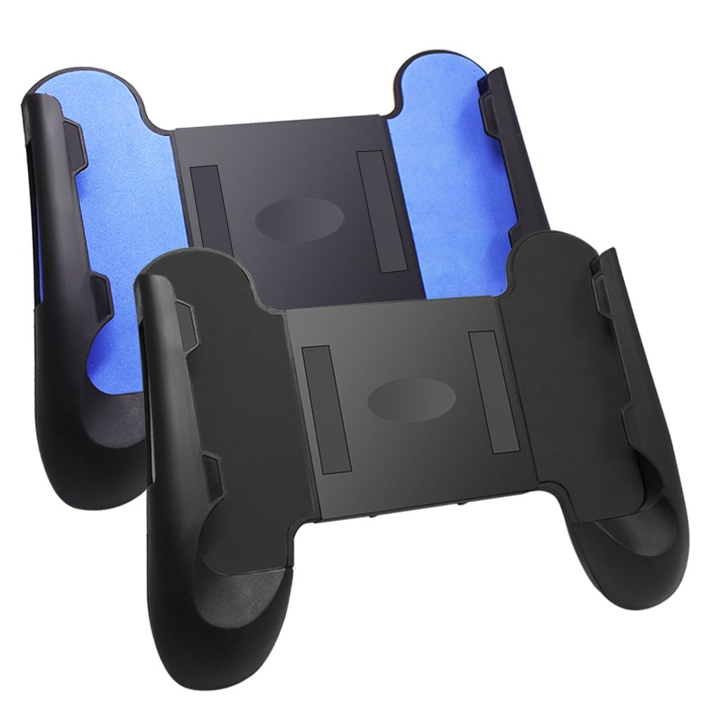 2 Pcs Game Clutch Universal Grip for 4'- 6' Smartphone, AFUNTA Adjustable Mobile Phone Controller Gaming Grip with Stand, Plastic - Black, Blue AF-phone_game_grip