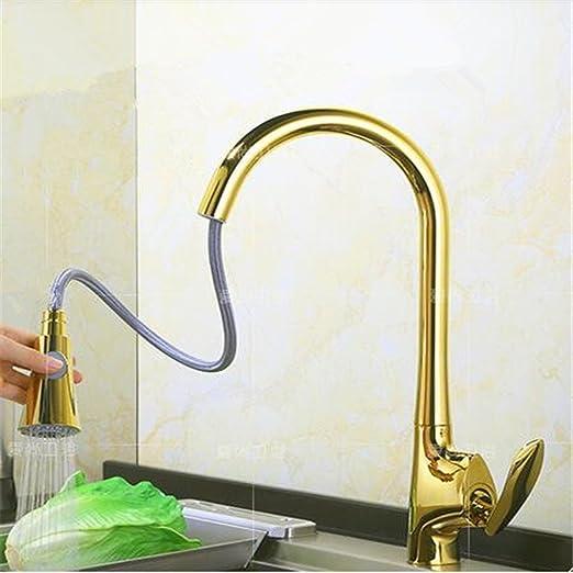 XC Messing Gold Küche Heiß Und Kalt Pull Spüle Waschbecken ...