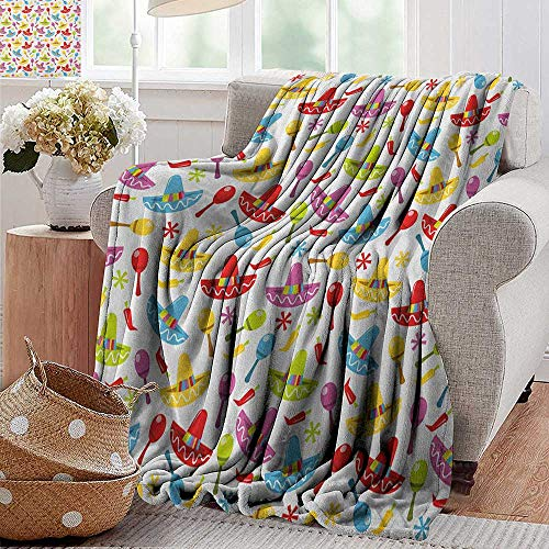 Throw Blanket for Couch,Fiesta,Abstract Sombrero and Maracas Pattern Geometric Star Design Colorful Illustration, Multicolor,Flannel Blankets Super Soft Warm Thick Blanket for Home -