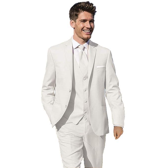 MYS Mens Custom Made Bridegroom Wedding Tuxedo Suit White Pants Vest Tie Set