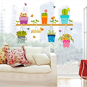 BIBITIME Saying and Quotes Sweet Home Sign Sticker Bees Birds Butterflies Flower Plants Potted Cactus Wall Decal for Living Room Window Shop Showcase Kids Room Decor