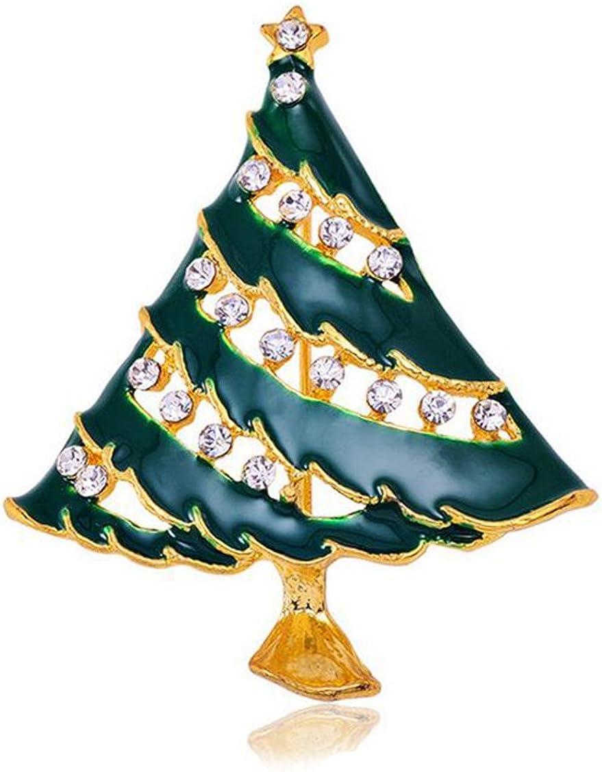 Gudeke Mujeres hombres joyería de esmalte broche de diamantes de imitación de aleación broche del árbol de navidad regalos verdes, el oro tono