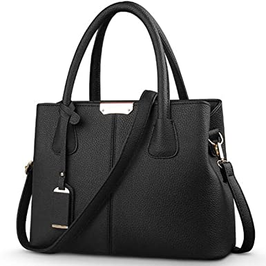 Amazon.com: Women PU Ladies Large Tote Bag Female Square ...
