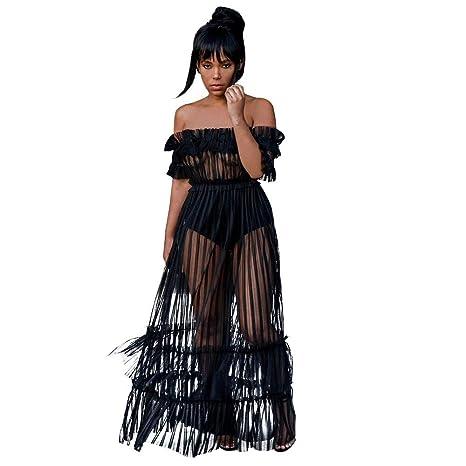 ff10b377e55 SamMoSon Discount Robe Longue Femme ete 2018 Chic Tankinis Femme Sexy  Épaule Dentelle Taille Haute Évasé