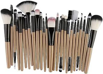 SMARTLADY 25 PC Brocha Maquillaje Profesional mac Fundación Base Maquillaje Cepillo (Amarillo): Amazon.es: Ropa y accesorios