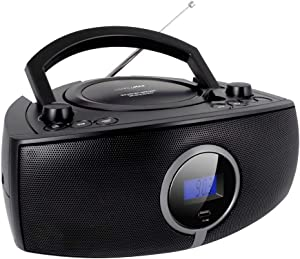 HANNLOMAX HX-316CD CD/MP3 Boombox, AM/FM Radio, Digital Radio Frequency Display, Bluetooth, USB Port for MP3 Playback, LCD Display, Aux-in, AC/DC Power Source (Black)