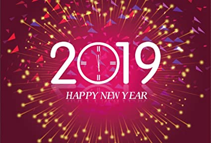 aofoto 7x5ft 2019 happy new year backdrop merry christmas abstract fireworks background time clock carnival cocktail