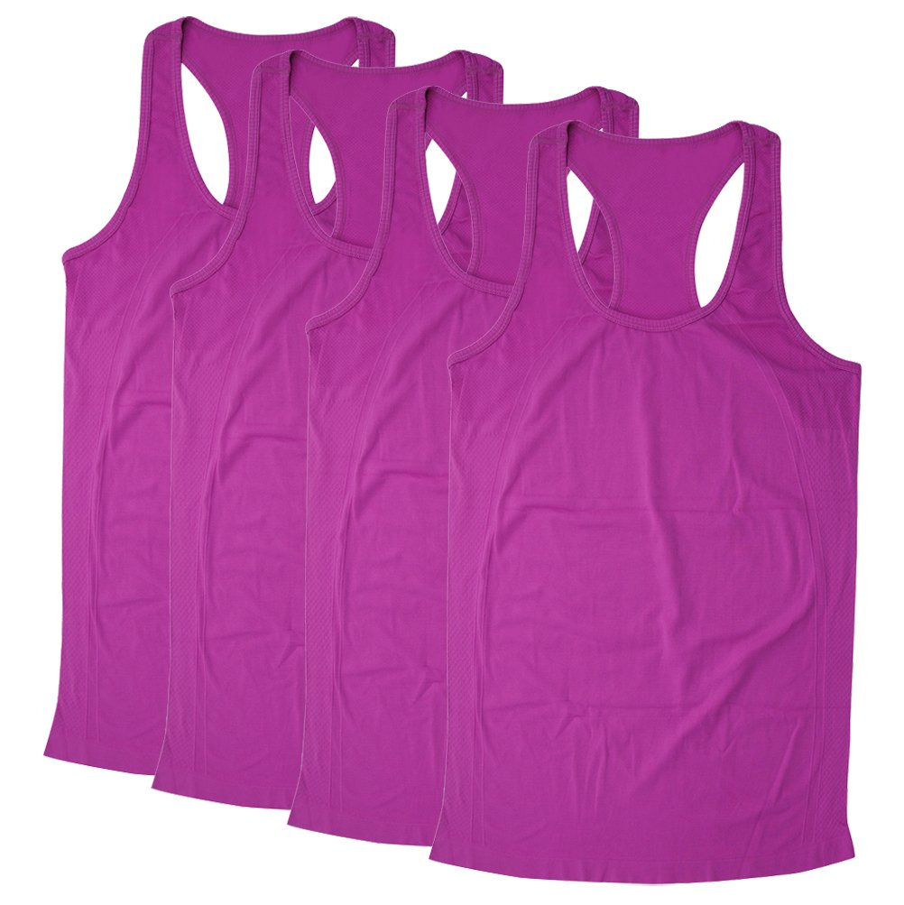 BollyQueena Womens Workout Tank Top, Women's Vest Top Sleeveless Fashion Tank Tops T-Shirt 4 Packs Purple S