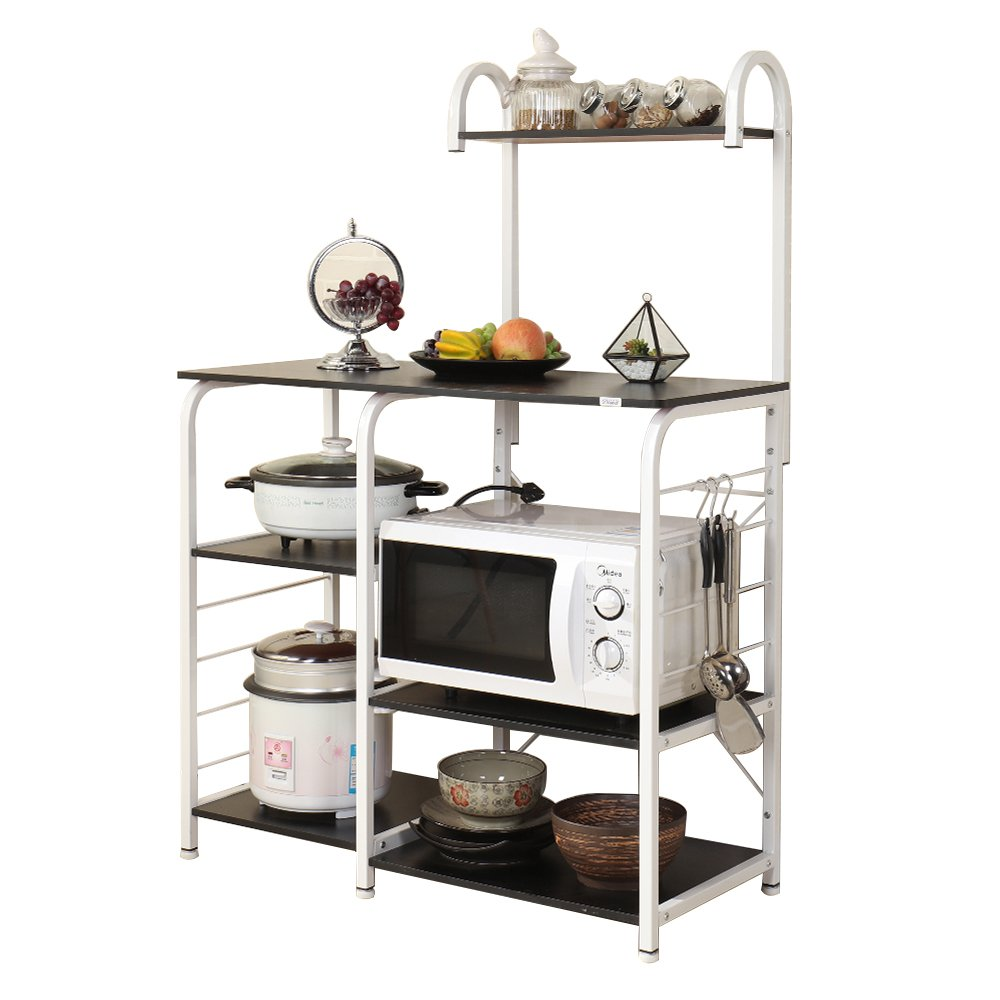 Dland Microwave Cart Stand 35.4'' Kitchen Utility Storage 3-Tier+4-Tier for Baker's Rack & Spice Rack Organizer Workstation Shelf, Black