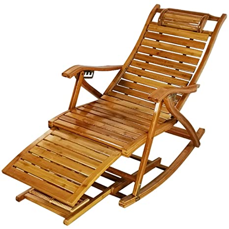GOPG Madera de Bambu Tumbona, Plegable Interiores/Al Aire ...