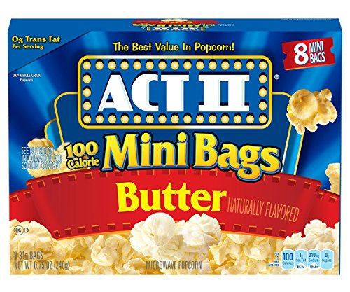 Mini Microwave Popcorn (ACT II Popcorn, 100 Calorie Pack, Butter, 8-Count Mini-Bags (Pack of 6))