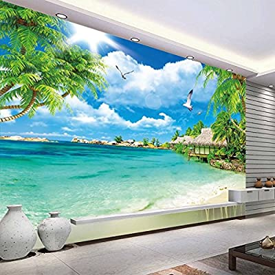 XLi-You 3D Sea View Beach View Tv Background Wall Paper Wallpaper Murals Seamless Wall Cloth