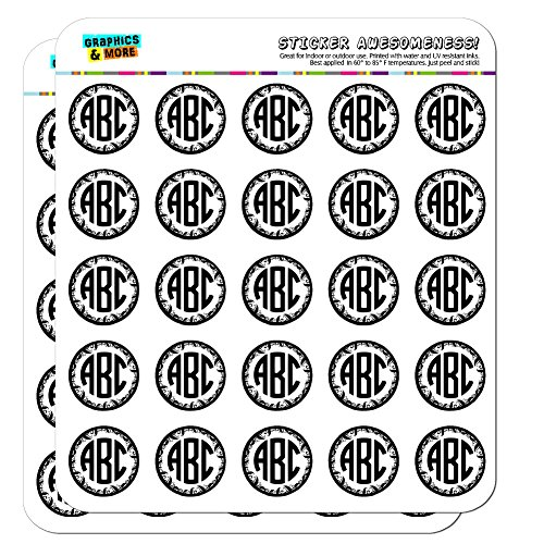 """Graphics and More Personalized Custom Monogram Circle font Vine Outline Planner Calendar Scrapbooking Crafting Stickers - 50 1"""" Opaque Stickers"""