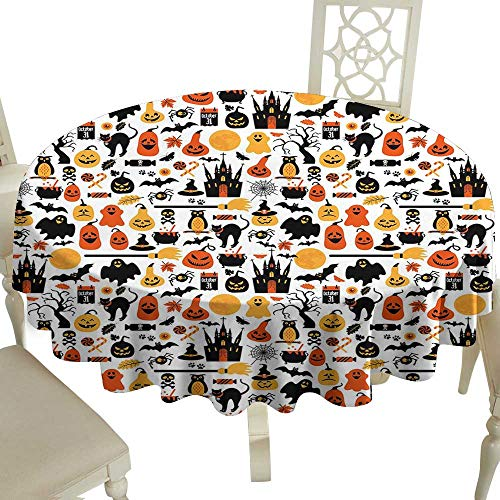 Cranekey Clear Round Tablecloth 36 Inch Halloween,Halloween Icons Collection Candies Owls Castles Ghosts October 31 Theme,Orange Yellow Black Great for,Holiday & More