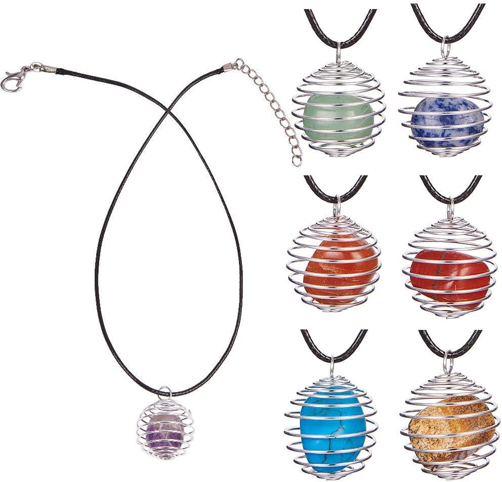 SUNNYCLUE 7 unids Cristal de sanación Chakra Piedra Piedras de Piedras Preciosas Amatista Rosa Cuarzo con 7 Espiral Abalorios de la Jaula de Abalorios y 19 Pulgadas Collar Reiki Energy Set