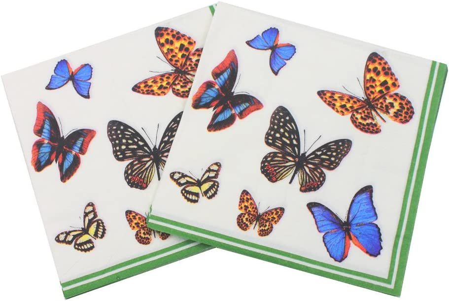 WallyE Butterfly Chintz Decoupage Napkins, Country Garden Inspired Luncheon Cocktail Napkins for Bridal Shower,Tea Party, Thanksgiving or Birthday,20 Pack