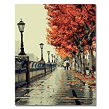 Rihe Paint By Numbers Kits Mounted on Wood Frame with Brushes and Paints for Adults Children Seniors Junior DIY Beginner Level Acrylics Painting Kits on Canvas-Romantic Love Autumn 16*20 Inch