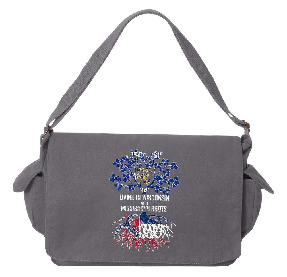 Tenacitee Living In Wisconsin with Mississippi Roots Grey Brushed Canvas Messenger Bag