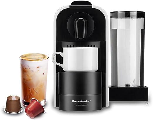 Cafetera de cápsulas Nespresso, Homeleader, cápsulas eléctricas con 0,8 l de depósito, 1400 W, 19 bar de presión, color blanco: Amazon.es: Hogar