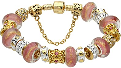 e1ecb09b1 Jewelry - Gold-Plated Pandora Style Charm Fashion Bracelet with Murano  Style Beads, for