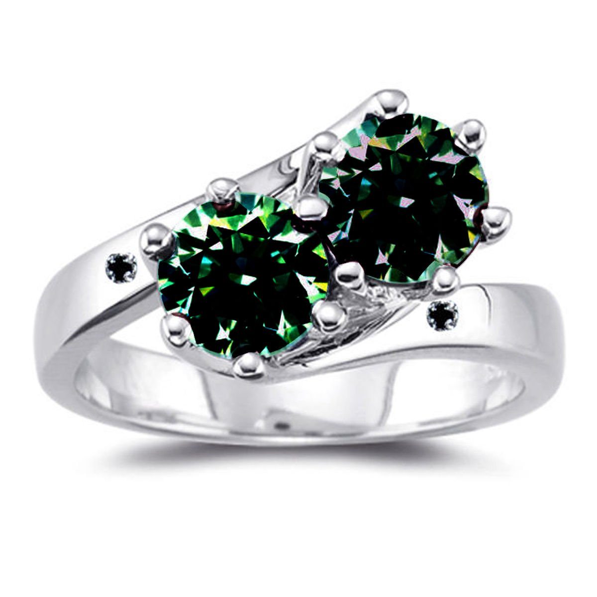 RINGJEWEL 2.44 ct VVS1 Round Moissanite Solitaire Silver Plated Engagement Ring Green Brown Color Size 7