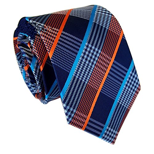 Blue Tie Orange And (Secdtie Men's Checks Blue Orange Striped Jacquard Woven Silk Tie Necktie Y89)