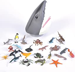 Plastic Shark Head With Storage Filled With 12 Small Sea Creatures