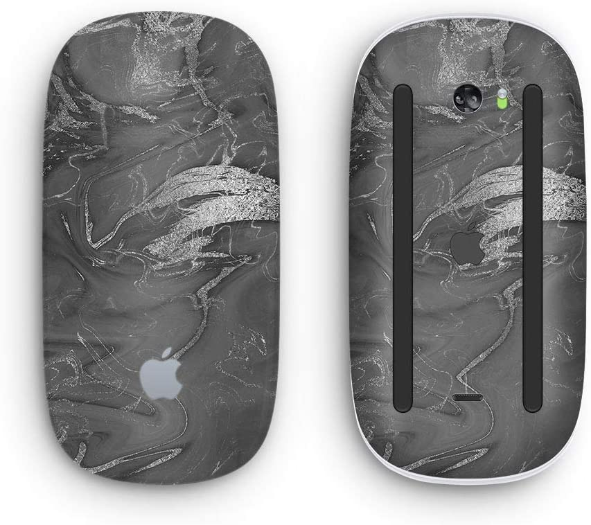 Black & Silver Marble Swirl V7 2 - Design Skinz Premium Vinyl Decal for The Apple Magic Mouse 2 (Wireless, Rechargable) with Multi-Touch Surface