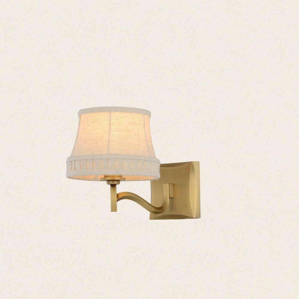Chen Americano di stile rustico panno paralume semplice Comodino Camera da letto della lampada da parete in rame completa (dimensioni   18  24cm)