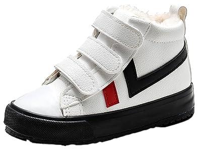 cbb466a23f26b Amazon.com | VECJUNIA Boys Girls Cold Weather Fur Lined Sneaker High ...