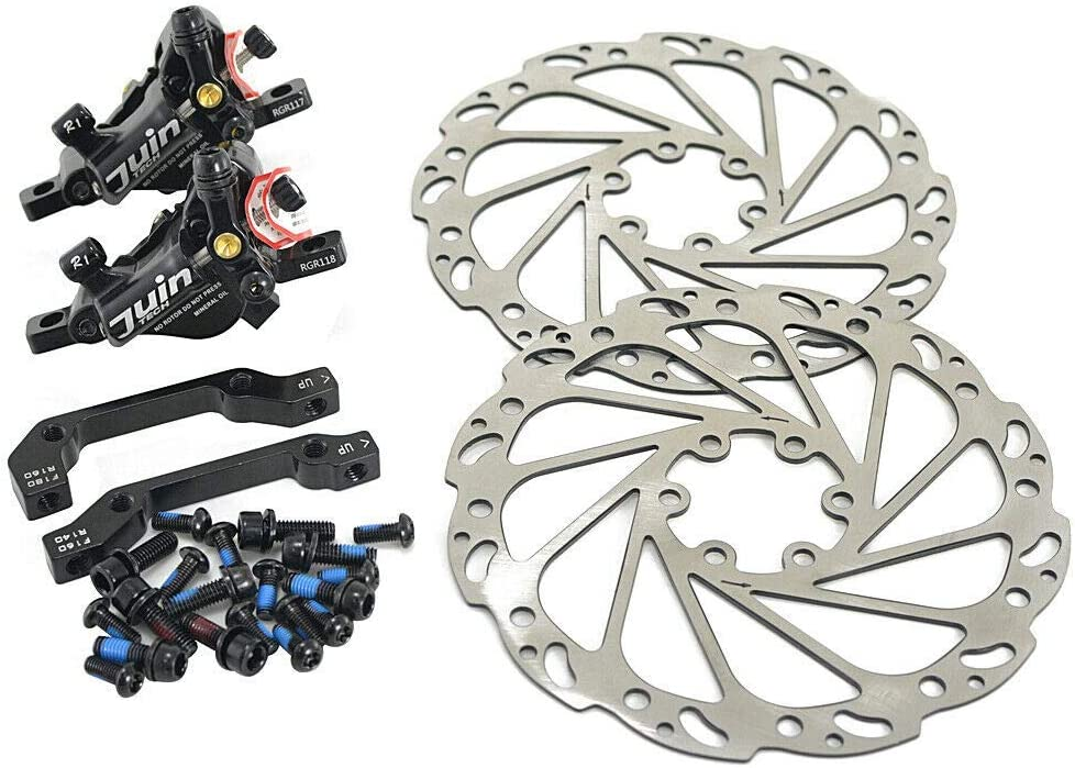 Front and Rear JUIN TECH R1 Hydraulic Road CX Disc Brake Set 160mm with Rotor Black JT1902