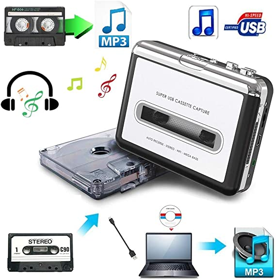 Cassette Tape to MP3 Converter Capture Stereo  USB Music Player Recorder AHS