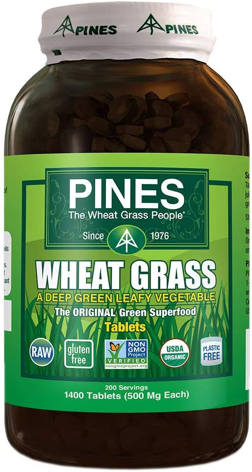 Pines Organic Wheat Grass, 1400 Count Tablets