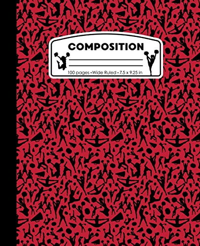 Composition: Cheerleading Red and Black Marble Composition Notebook for Girls. Cheerleading Wide Ruled Baseball Book 7.5 x 9.25 in, 100 pages, journal for kids, elementary school students and teachers por PattyJane Press