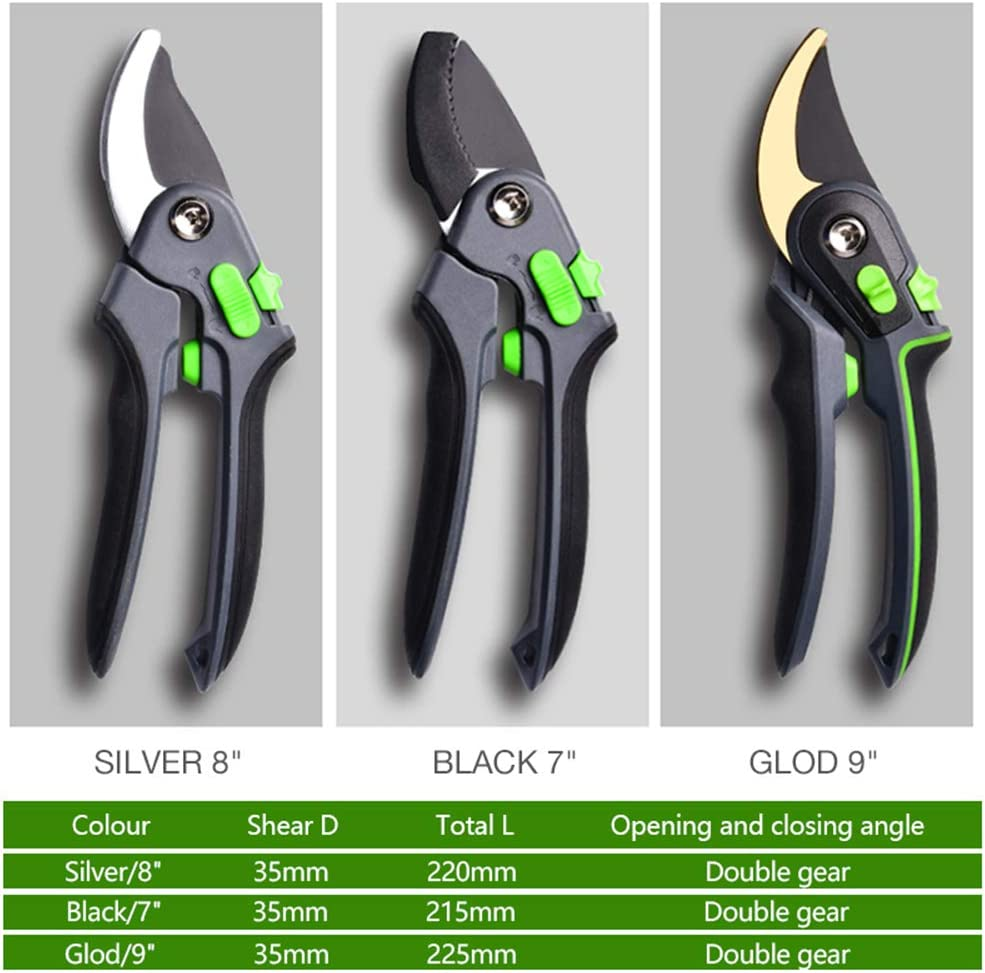 MIYA Plant Pruners Secateurs | Rust Free Compact Sized Scissors Tools for Precision Pruning Black