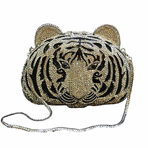 Lady Dazzle Full Diamond Clutch Tiger Head Evening Bag Bling Rhinestone Chain Cross Body Bag Animal Purse (Silver)