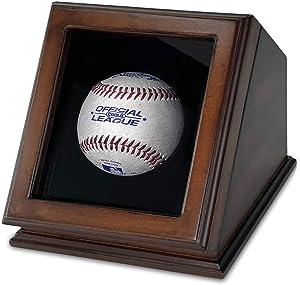 ChezMonett Baseball Display Case Baseball Gift - Wood with Glass Lid - Single
