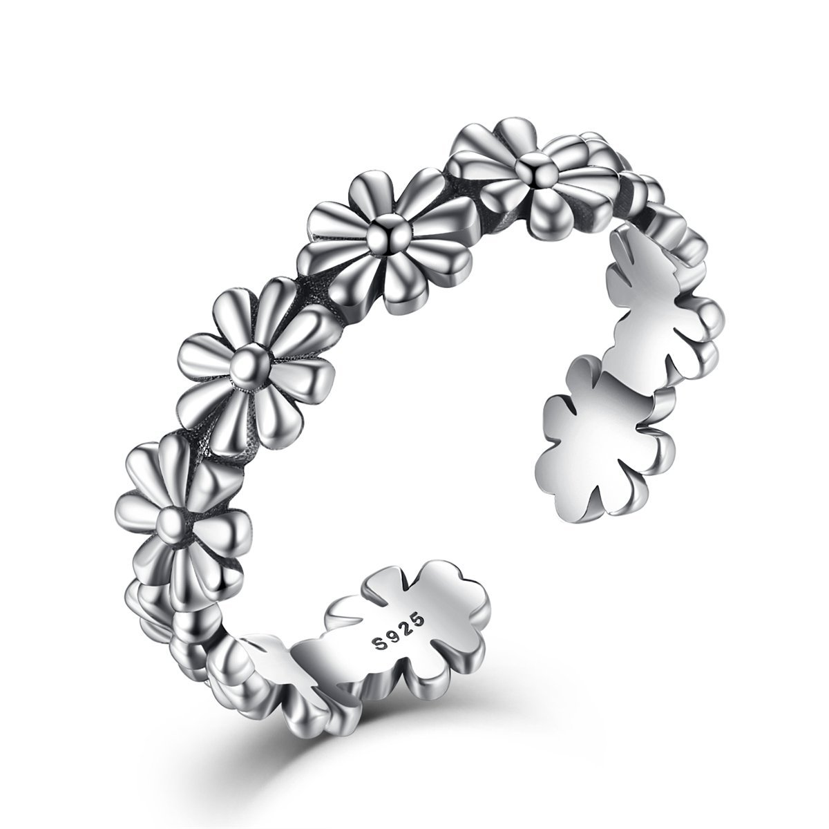 Women Adjustable Ring,925 Sterling Silver Fashion Daisy Flower Open Ring Band, Fashion Jewelry Gift JOEMOD