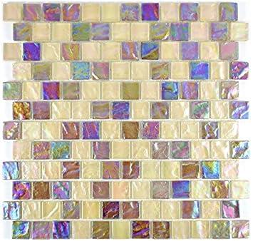Mosaik Fliese Transluzent Beige Lila Glasmosaik Crystal Brick Rainbow Für  WAND BAD WC DUSCHE KÜCHE FLIESENSPIEGEL