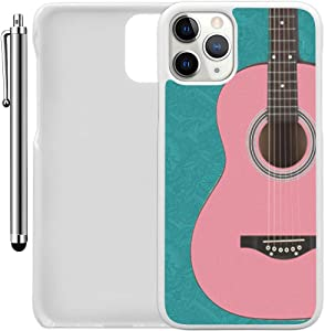 "Custom Case Compatible with iPhone 11 Pro (5.8"") (Pink Guitar Vintage) Plastic White Cover Ultra Slim 