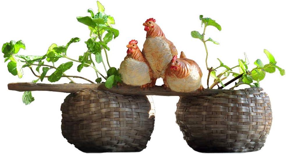YOURNELO Creative Chicken Plant Flower Pot Succulent Planters Vase Hen