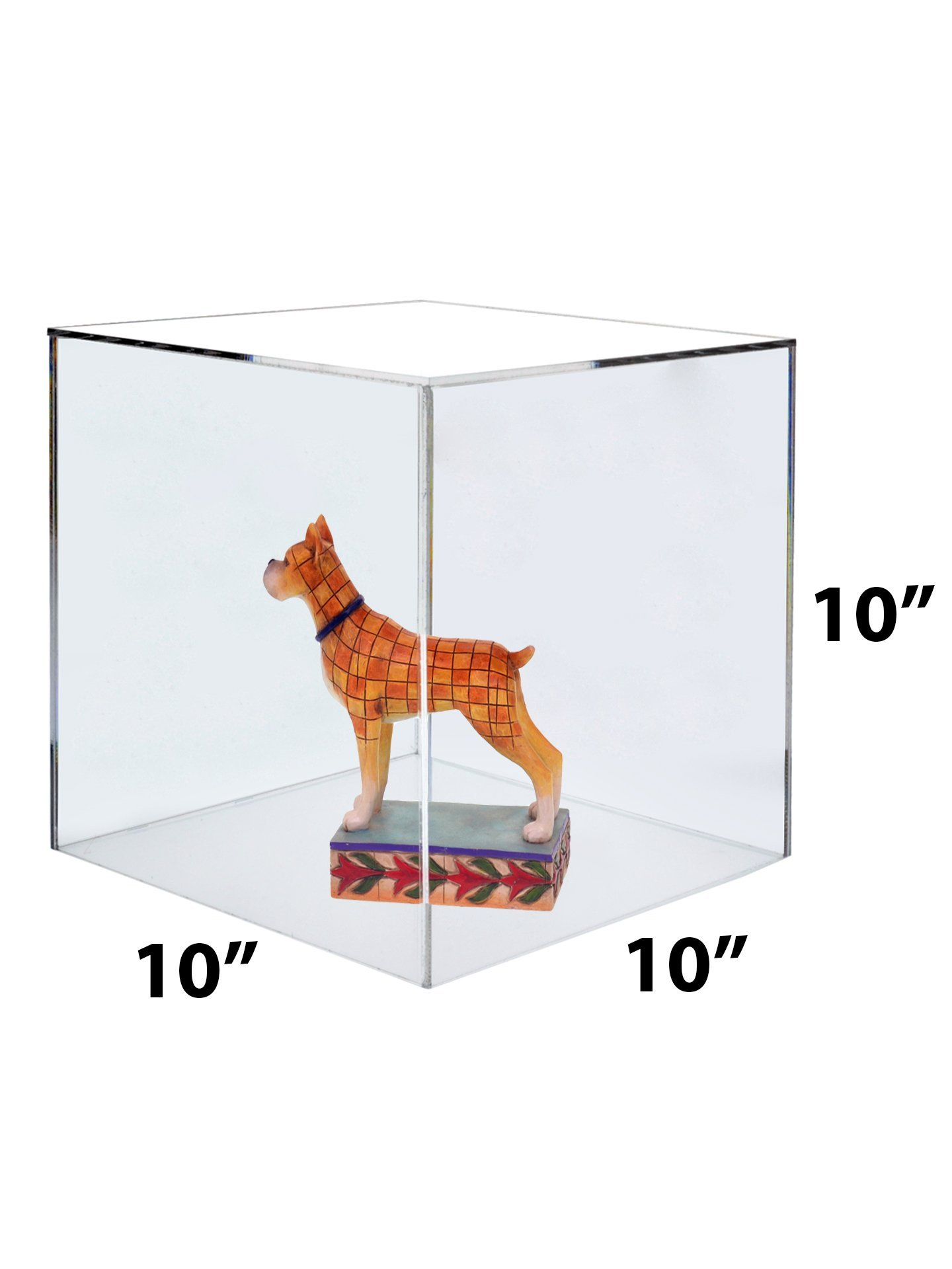 Marketing Holders Large Acrylic Display Box Cube Toys Trinkets Collectible Items Safety Dust Cover Acrylic 5 Sided Show Case Art Easel Pedestal Display (5, 10''w x 10''h) by Marketing Holders (Image #3)