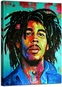 Bob Marley Laughing Portrait Reggae Color Poster Artwork Print Canvas Painting Wall Decor Size 12 by 16 with Framed