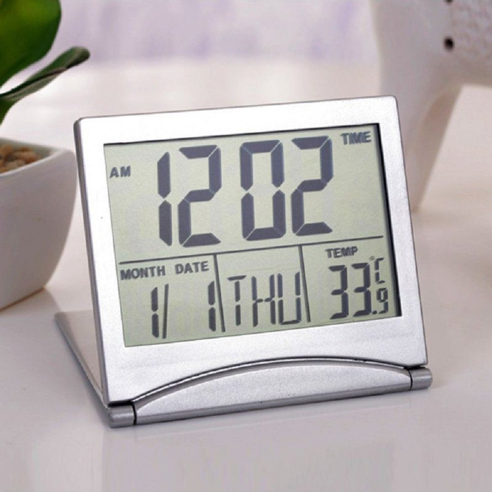 Large HD Digital LCD Folding Travel Alarm Clock with Thermometer Calendar Timer USA