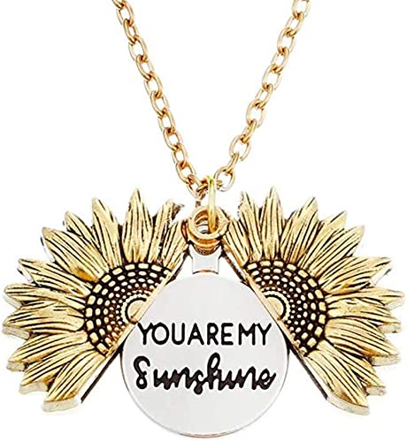 You Are My Sunshine Necklace Granddaughter Valentines Day Gift Silver Pendant