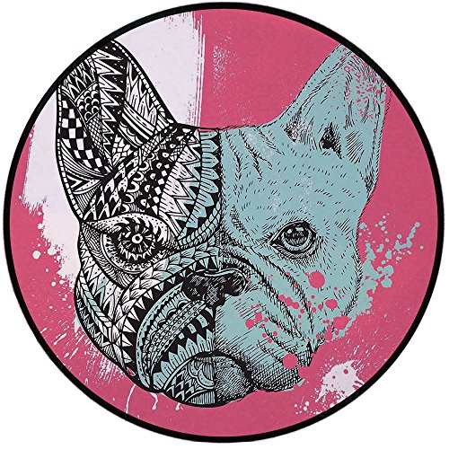 Printing Round Rug,Modern,French Bulldog Split with Ethnic and Paintbrush Artwork Mat Non-Slip Soft Entrance Mat Door Floor Rug Area Rug For Chair Living Room,Pink Seafoam Black White by iPrint