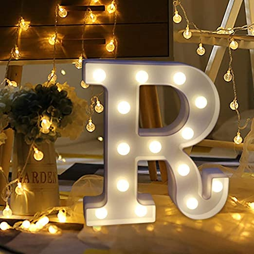 Amzure LED Marquee Letter Lights Sign 26 Alphabet Light Up Letters Sign for Night Light Wedding Birthday Party Battery Powered Christmas Lamp Home Bar Decoration (R)