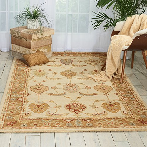 Nourison India House (IH87) Ivory/Gold Rectangle Area Rug, 8-Feet by 10-Feet 6-Inches (8' x (Asian Wool Rug)