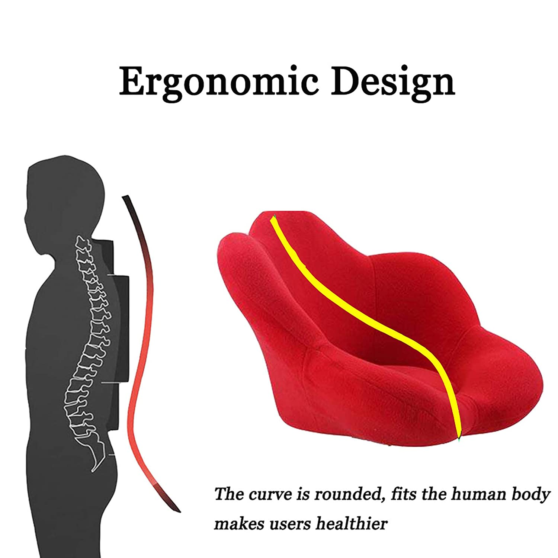 Modernt sovrum låg rygg svängbar höjd stol justerbar kontorsskrivbordsstol ergonomisk datorstol med svamp tvättbar flanellkudde metallbas stark lastlager, orange+grön Röd