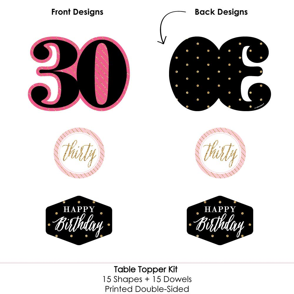 Table Toppers Pink Set of 15 Chic 30th Birthday Black and Gold Birthday Party Centerpiece Sticks